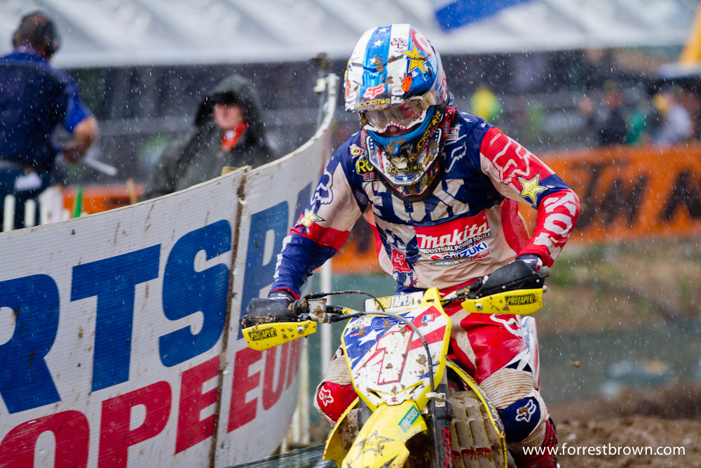 2011 Motocross of Nations in France. Race 1 (MX1 + MX2). Ryan Dungey in the poring rain.