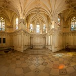 Panorama of the inside of the Chapel of Saint-Hubert at Château d'Amboise in Amboise France.