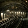 Looking down a Paris subway tunnel.